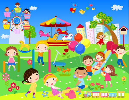 Children having fun in park Ilustracja
