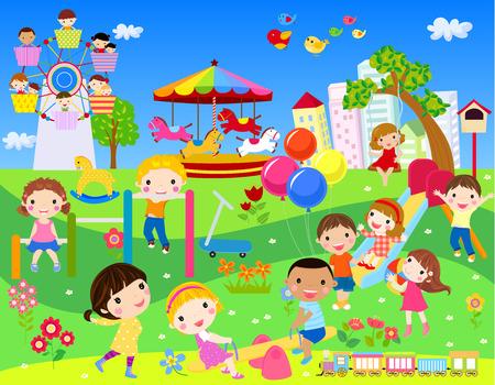 Children having fun in park Vettoriali