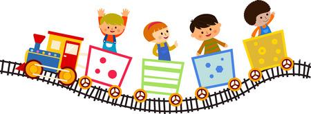 niños dibujando: Los niños que viajan en el tren Vectores