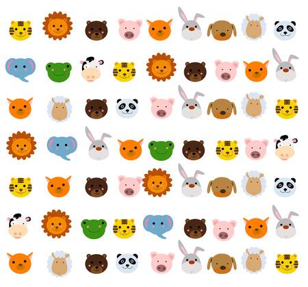 Gesicht: Tieren Gesicht Satz Illustration
