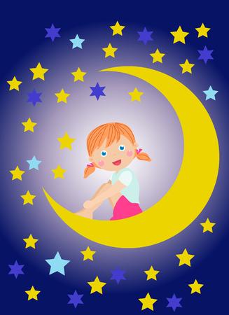 little girl sitting: Cute little girl sitting on moon