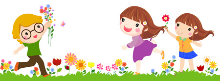 garden flowers: Three children walk on a beautiful spring day