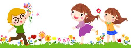 garden path: Three children walk on a beautiful spring day