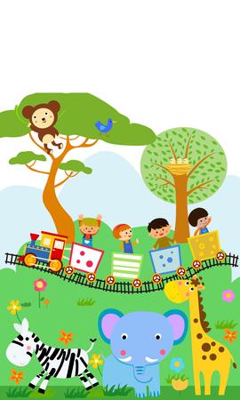 tren caricatura: Felices los niños en un tren colorido con los animales