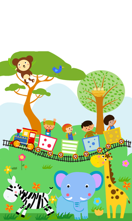 Happy kids on a colorful train with animals
