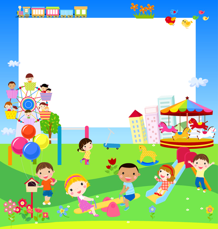 family park: Kids and banner