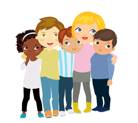 diverse family: group of kids