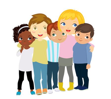 fraternidad: grupo de niños Vectores