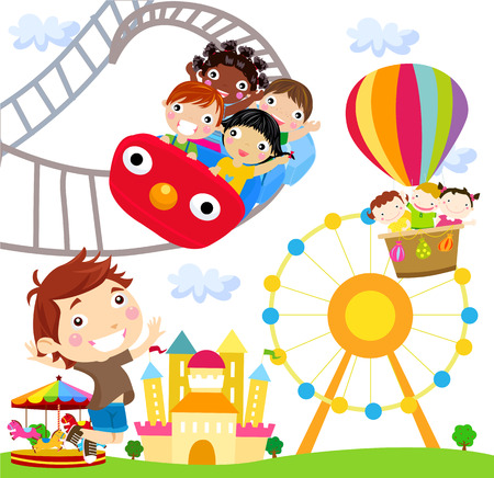 theme: illustration of people in an amusement park