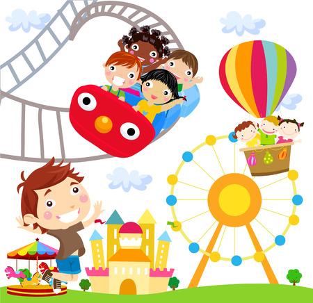 amusement park ride: illustration of people in an amusement park