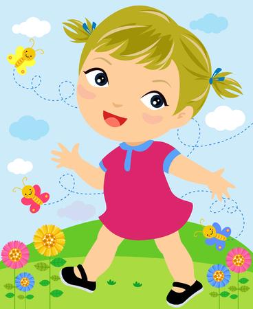 jardin de infantes: Chica caminando sonriente Vectores