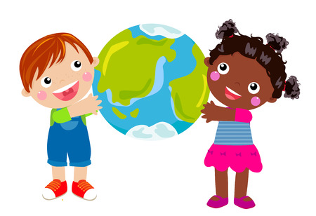 girl in red dress: cute boy and girl holding planet Earth Illustration