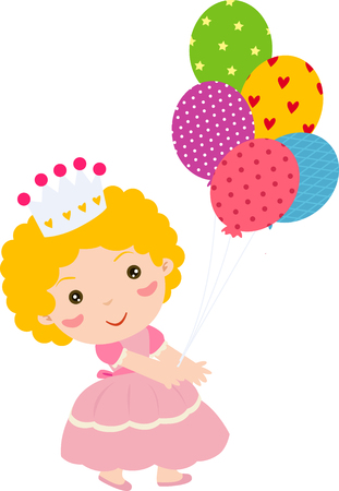 colored balloons: Princess with balloon