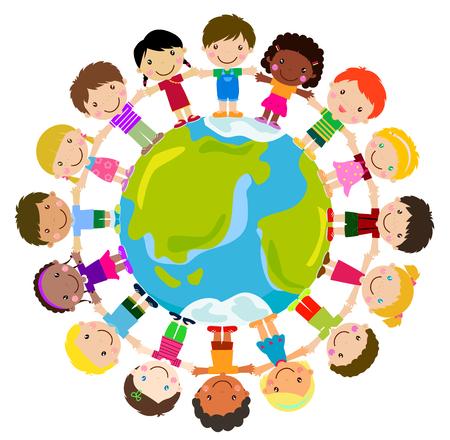 diversidad: Niños de pie alrededor