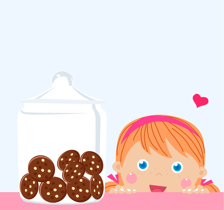 greedy: little girl looking at cookies in a jar