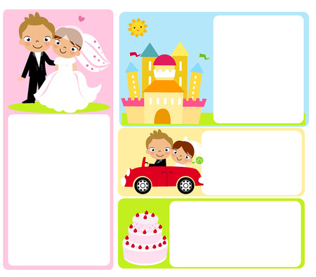 cartoon wedding couple: Cute bride and groom