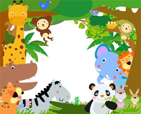 jungle jumping: Fun Jungle Animals Border Illustration