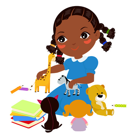 little girl sitting: Illustration of a Girl and playing