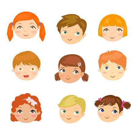 black hair girl: Illustration of people face set. Illustration