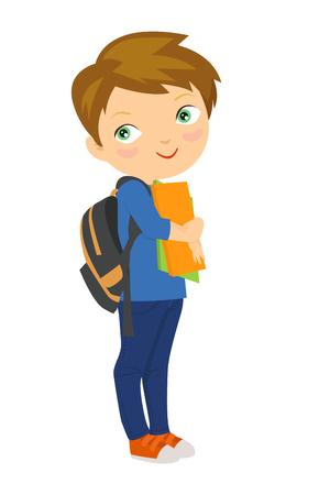 niño con mochila: Niño de dibujos animados llevar pila de libros Vectores