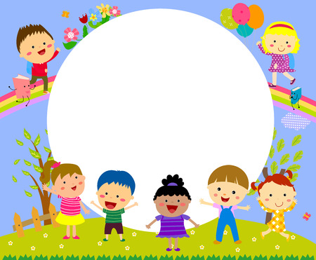 Cute frame with kids