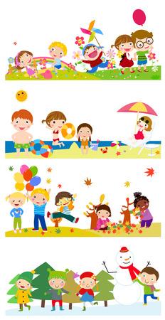niños jugando: niños felices Vectores