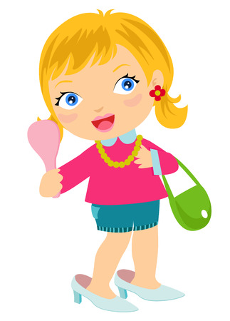 Illustration of a Little Girl Wearing Adult Shoe holding a Handheld Mirror Illustration
