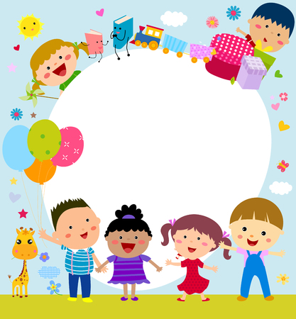 happy children: Kids frame Illustration