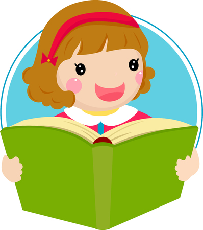 cartoon quiet: a young sweet girl child happily reading a book