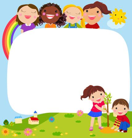 preescolar: los niños están plantando una pequeña planta en el jardín