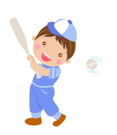 oversized: Cartoon boy playing baseball. Illustration
