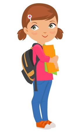 Cartoon girl bring pile of books Vettoriali