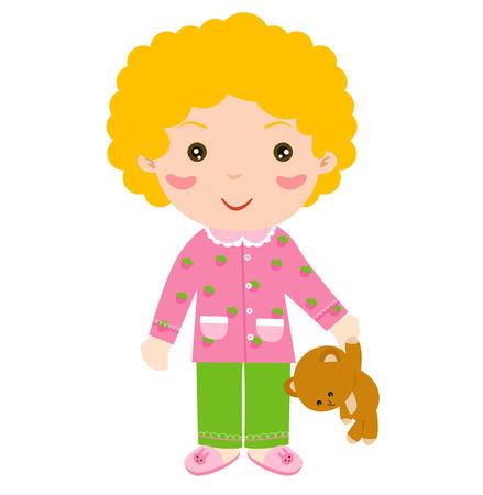 pajamas: Ni�a linda con el oso de peluche Vectores