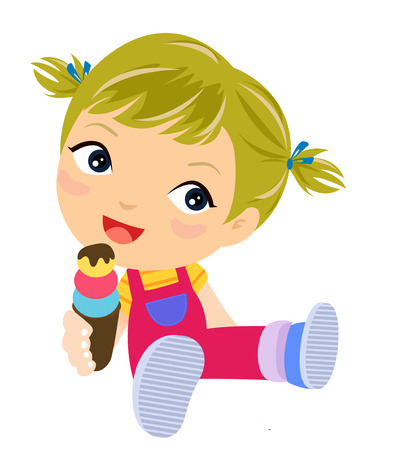 helado caricatura: comiendo un helado feliz linda chica
