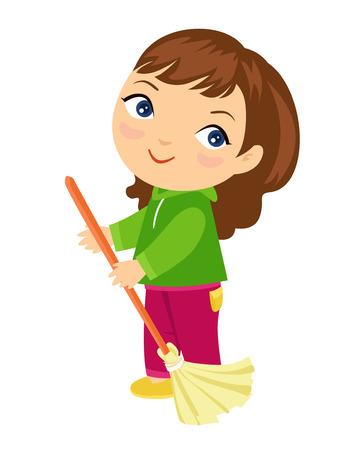 sweeping: Little girl sweeping the floor