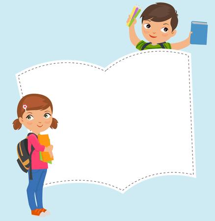 niño con mochila: niño de la escuela y una niña Vectores