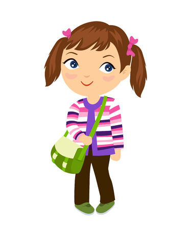 one little girl: Cute student girl