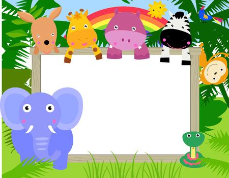 animaux du zoo: Les animaux avec une bannière