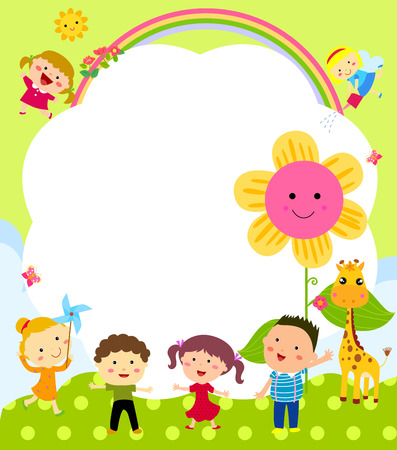 rainbow clouds: Cute frame with kids