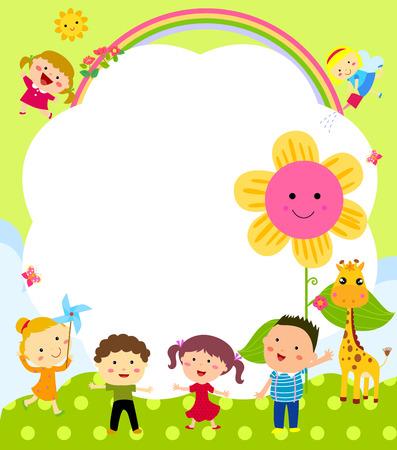 cartoon rainbow: Marco lindo con los ni�os
