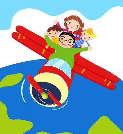 aereo: Illustrazione vettoriale di quattro membri della famiglia in un aereo.
