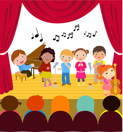 The children are performing music concert