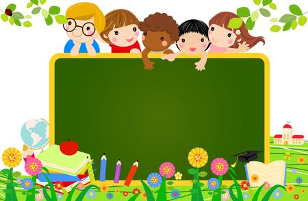 Kinderen en banner Stockfoto - 49015582