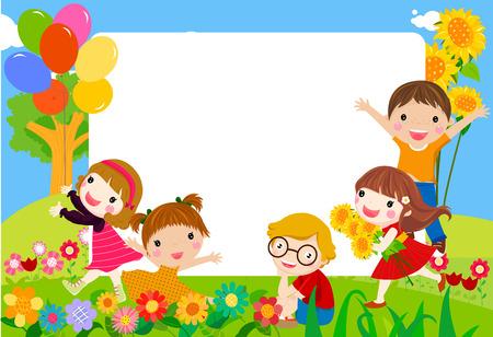 子供のグループ  イラスト・ベクター素材