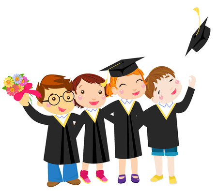 party girl: Group of graduation kids