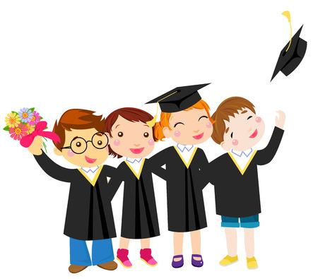 graduate asian: Group of graduation kids