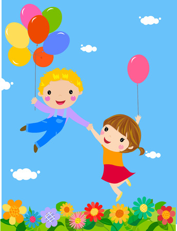 boy and girl flying in balloons Illustration