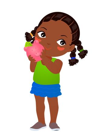thrift: Little girl holding piggy bank