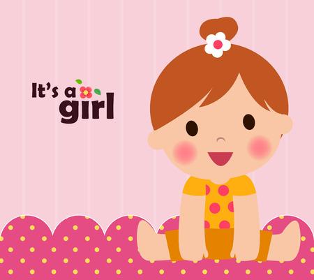 mignonne petite fille: Bébé carte de douche