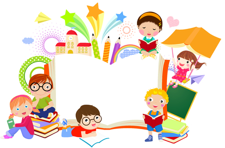 cartoon reading: Kids and book frame